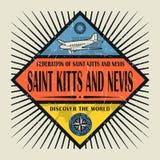 Stämpeln eller helgonet Kitts och Nevis för tappningemblemtext, upptäcker Royaltyfri Foto
