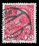 Stämpeln skrivev ut i Österrike från den 60th årsdagen av regeringstiden av kejsaren Franz Josef I Fotografering för Bildbyråer