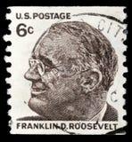Stämpeln skrivev ut i Förenta staterna, bild av ståenden Franklin Roosevelt arkivfoton