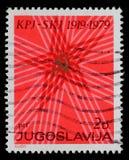 Stämpeln skrivev ut vid Jugoslavien som var hängiven till den 60th årsdagen av kommunistpartiet av Jugoslavien Arkivfoto