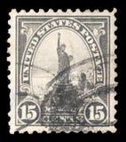 Stämpeln som skrivs ut av USA, visar statyn av frihet Arkivfoton