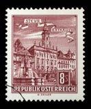 Stämpeln som skrivs ut i Österrike, visar stadshuset, Steyr Royaltyfria Foton