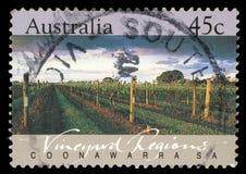 Stämpeln som skrivs ut i Australien, visar Coonawarraen, vingårdregioner, södra Australien Royaltyfri Bild
