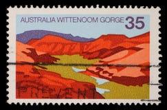 Stämpeln som skrivs ut i Australien, visar den Wittenoom klyftan, västra Australien Royaltyfri Bild