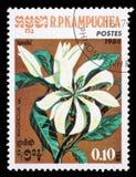 Stämpeln som skrivs ut i Cambodja, visar en blommamagnolia Arkivbild
