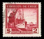 Stämpeln som skrivs ut i Chile, visar seglingskeppet handels- flotta Royaltyfri Fotografi