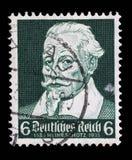 Stämpeln som skrivs ut i den tyska reichen, visar Heinrich Schutz Royaltyfri Fotografi