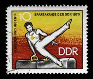 Stämpeln som skrivs ut i GDR, visar idrottsman nen på Pommel hästen Royaltyfri Fotografi
