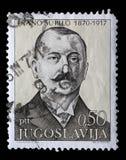 Stämpeln som skrivs ut i Jugoslavien, visar den 100. årsdagen av födelsen av Frano Supilo Royaltyfria Foton