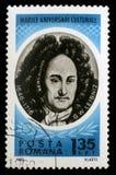 Stämpeln som skrivs ut i Rumänien, visar Gottfried Wilhelm von Leibniz fotografering för bildbyråer