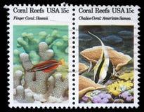 Stämpeln som skrivs ut i USA, visar Coral Reefs Royaltyfria Foton