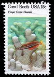 Stämpeln som skrivs ut i USA, visar Coral Reefs, fingerkorall, Hawaii Arkivbild