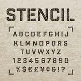 Stämpelstencilen märker, nummer och symboler Grunge alfabet Arkivfoton