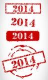 Stämpeluppsättning för nytt år 2014 Royaltyfri Bild