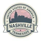 Stämpla eller etiketten med namn av Nashville, Tennessee vektor illustrationer
