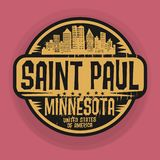 Stämpla eller etiketten med namn av Saint Paul, Minnesota vektor illustrationer
