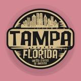 Stämpla eller etiketten med namn av Tampa, Florida vektor illustrationer