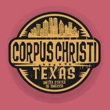Stämpla eller etiketten med namnet av Corpus Christi, Texas royaltyfri illustrationer