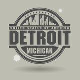 Stämpla eller etiketten med text Detroit, Michigan inom vektor illustrationer