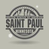 Stämpla eller etiketten med text Saint Paul, Minnesota inom vektor illustrationer