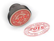 Stämpla gummi med det lyckliga nya året 2015 för text Arkivbilder