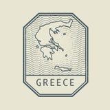 Stämpla med namnet och översikten av Grekland, vektor royaltyfri illustrationer
