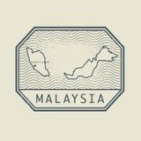 Stämpla med namnet och översikten av Malaysia vektor illustrationer