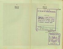 Stämplat pre-Israel pass Arkivbilder