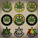 Stämplar för blad för marijuanaganjacannabis Fotografering för Bildbyråer