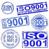 Stämplar för ISO 9001 stock illustrationer