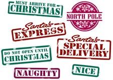 stämplar för jul s santa Fotografering för Bildbyråer