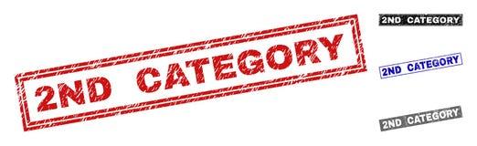 Stämplar för rektangel för 2ND KATEGORI för Grunge skrapade stock illustrationer