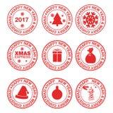 Stämplar med julbeståndsdelar Fotografering för Bildbyråer