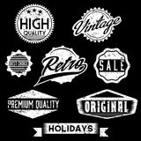 Stämplar och emblem för svartvit Grunge Retro Royaltyfri Fotografi