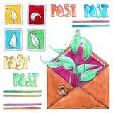 Stämplar och kuvert för flygillustration för näbb dekorativ bild dess paper stycksvalavattenfärg Royaltyfri Foto
