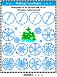 Stämplar och tryckbildgåta med snöflingor stock illustrationer