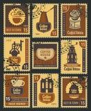 Stämplar på kaffe stock illustrationer