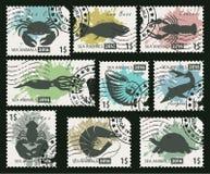 Stämplar på temat av djur för havsliv Royaltyfria Bilder
