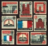 Stämplar på temat av Frankrike royaltyfri illustrationer
