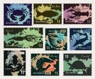 Stämplar på temat av undervattens- havsdjur Royaltyfria Bilder