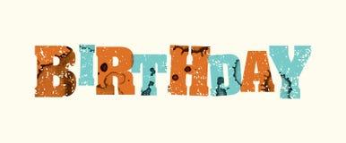 Stämplat ord Art Illustration för födelsedag begrepp Arkivfoton