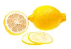 stäng den isolerade citronskivan upp white Royaltyfri Bild