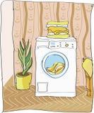 stäng maskinen som skjutas upp tvätt Fotografering för Bildbyråer