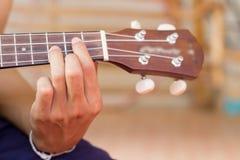 Stäng sig upp att spela ukulelet, tryck på ackordet, radinstrumentet, kroppsdelfolk Fotografering för Bildbyråer