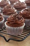 Stäng sig upp av chokladmuffin med chokladglasyr på kaka Royaltyfri Foto