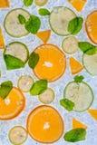 Stäng sig upp av citronen, limefrukt och apelsinen på isdriva royaltyfri fotografi