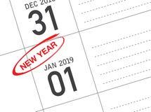 Stäng sig upp av den första dagen av året 2019 på dagbokkalender arkivfoto