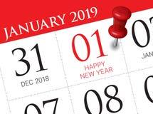 Stäng sig upp av den första dagen av året 2019 på dagbokkalender royaltyfri illustrationer