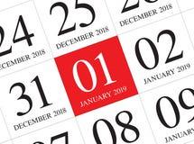 Stäng sig upp av den första dagen av året 2019 på dagbokkalender vektor illustrationer