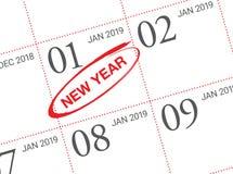Stäng sig upp av den första dagen av året 2019 på dagbokkalender stock illustrationer